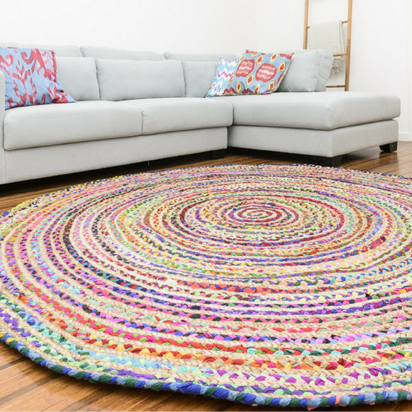 ASSORTED FABRICS GREEN TOUCHE MULTI-COLORED HAND-BRAIDED AREA RUG - 120cmx120cm (4ft)