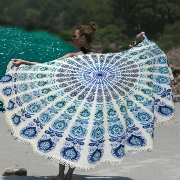 INDIGO BLUE MANDALA ROUND BEACH THROW WITH WHITE TASSELS - KraftDirect