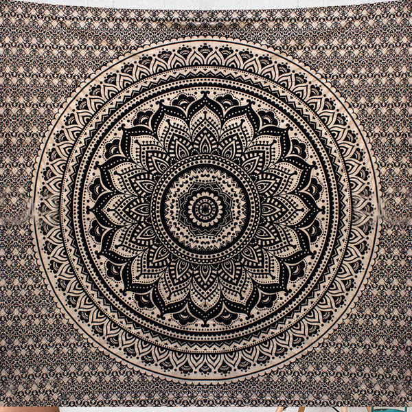 Black Ombre Lotus Queen Size Mandala Bedding and Wall Tapestry - KraftDirect