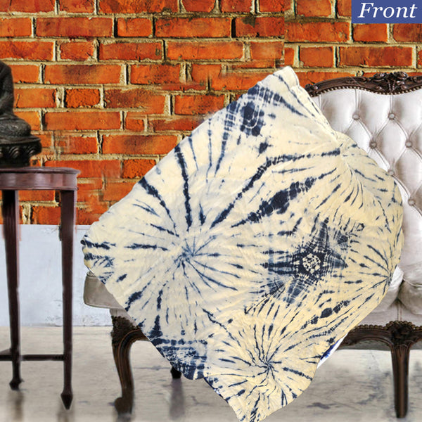 Spiral Blue Patterned Indigo Cotton Decorative Throw for Sofa - KraftDirect