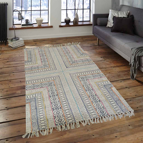 LIVE IN THE SHAPES MULTI-COLORED BORDER COTTON RUG