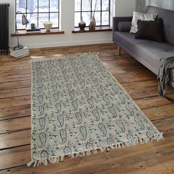 SEEMLESS SPRING LEAVES GREEN AND WHITE COTTON RUG