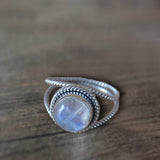 TWISTED TEXTURES RAINBOW MOONSTONE RING