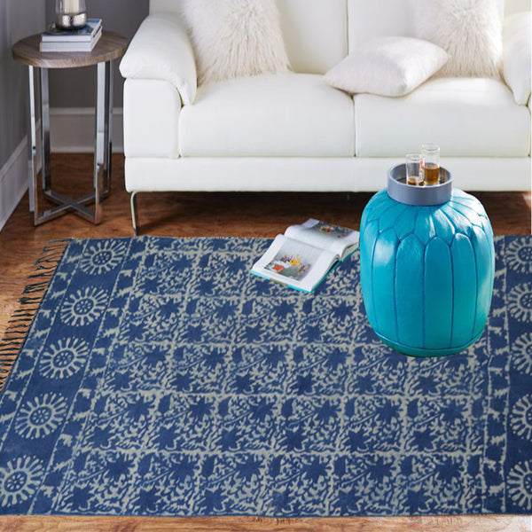 Tribal indigo rug with boho vibes