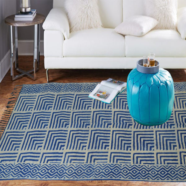 Blue checkered indigo cotton rug