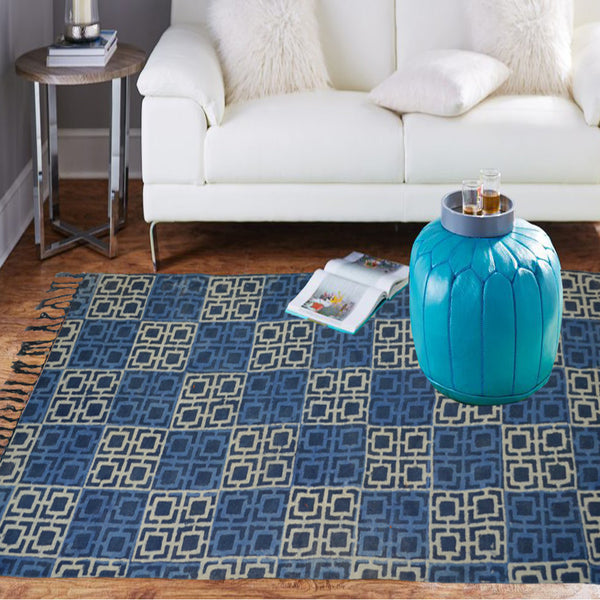 Traditional blue and white rug