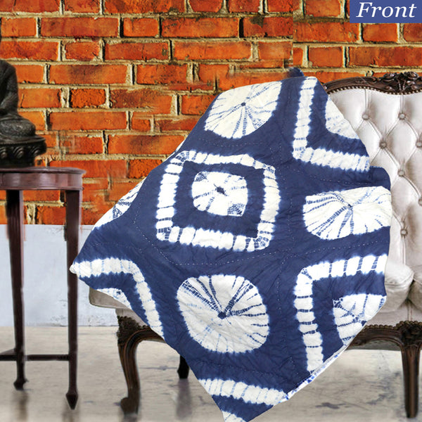 Boho Circular Patterned Indigo Cotton Decorative Throw for Sofa - KraftDirect