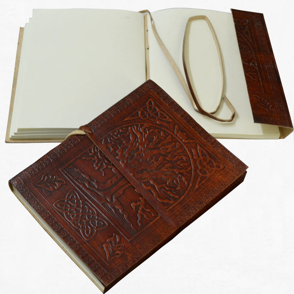 ANTIQUE HANDMADE EMBOSSED TREE OF LIFE LEATHER JOURNAL - DARK WALNUT BROWN