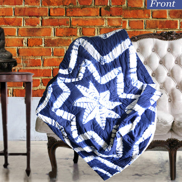 Boho Star Patterned Indigo Cotton Decorative Throw for Sofa - KraftDirect