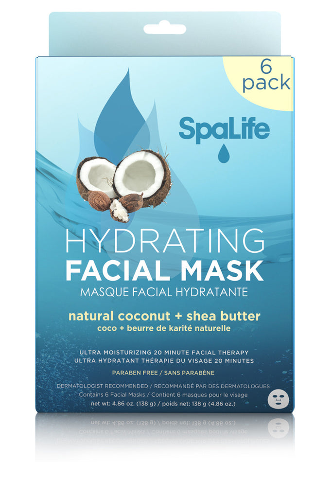 Hydrating Natural Coconut & Shea Butter Facial Masks - 6 Pack