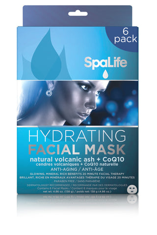 Hydrating Natural Volcanic Ash & CoQ10 Facial Masks - 6 Pack