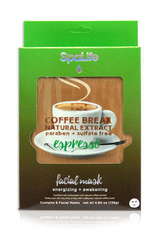Natural Extract Espresso Coffee Break Facial Masks - 6 Pack