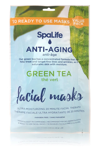 Anti-aging Green Tea Facial Masks - 10 pack