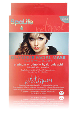 Glamour Facial Mask (Platinum, Retinol and Hyaluronic Acid) 3 Pack