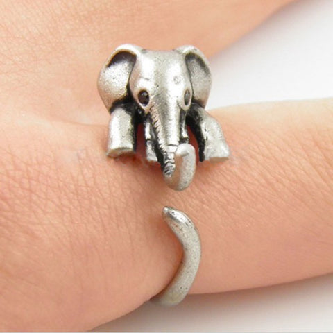 Adorable Elephant Wrap Resizable Ring