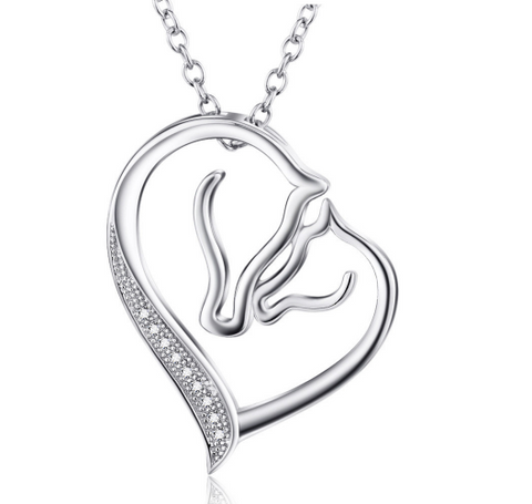 Sterling Silver Horse Love Pendant Necklace