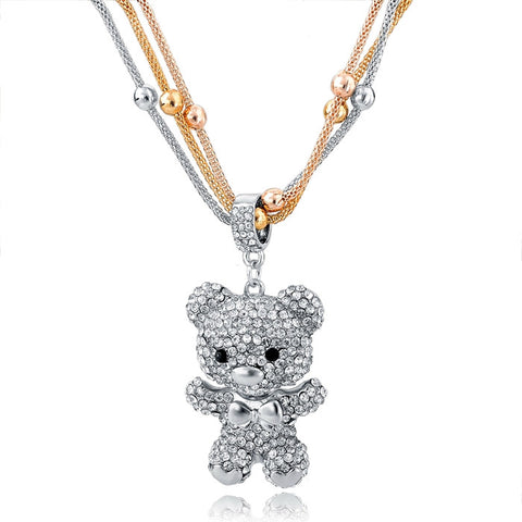 Multi-layer Bear Silver Crystal Necklace