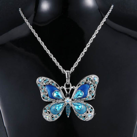 Fashionable Rhinestone Long Butterfly Necklace