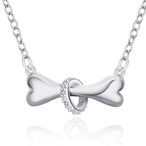 Magnificent Silver Dog Bone Necklace