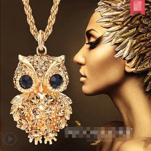 Crystal Owl Long Chain Pendant Necklace