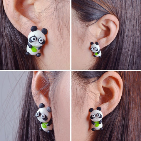 Lovable Panda Stud Earrings