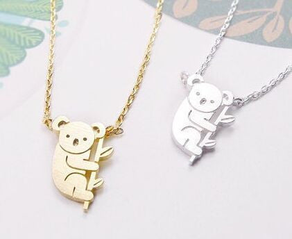 Koala Bear and Branch Long Pendant Necklace