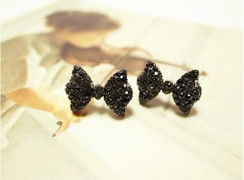 Black Bow Butterfly Stud Earrings