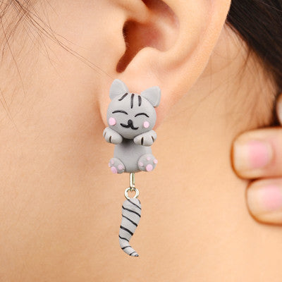 Adorable Hanging Cat Stud Earrings