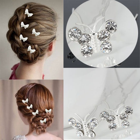 Striking Crystal Butterfly Hair Pins