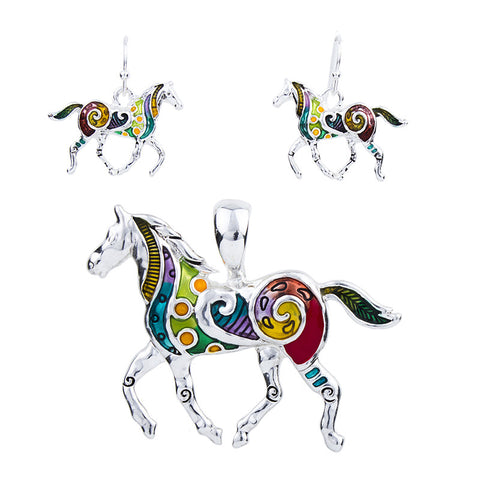 Beautiful Horse Earrings and Necklace Set