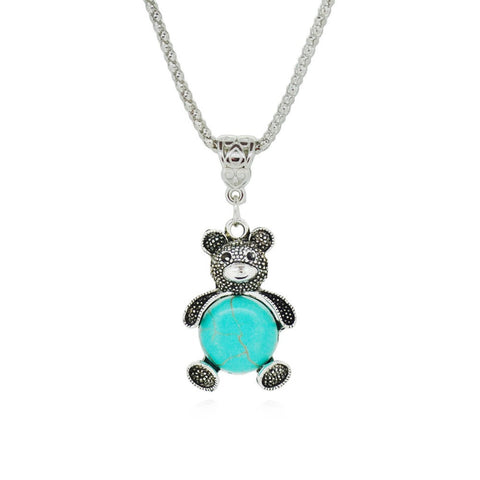 Friendly Bear Turquoise Pendant Necklace