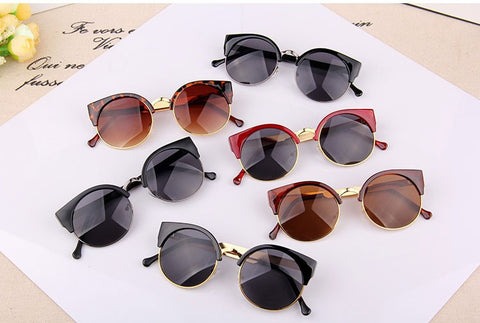 Vintage Round Cat Sunglasses