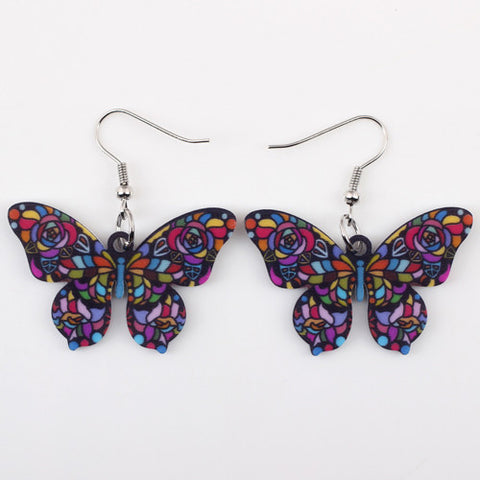 Mosaic Butterfly Drop Earrings
