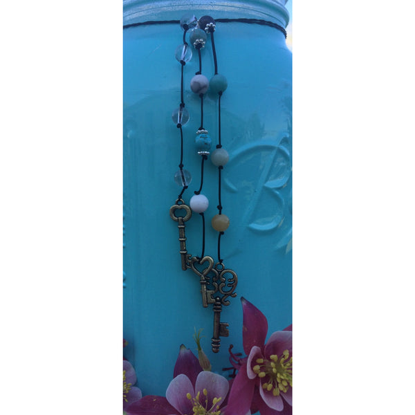 Clear Quartz, Amazoinite & Howlite Key Door Hanger - Gifting a Gift of Peace
