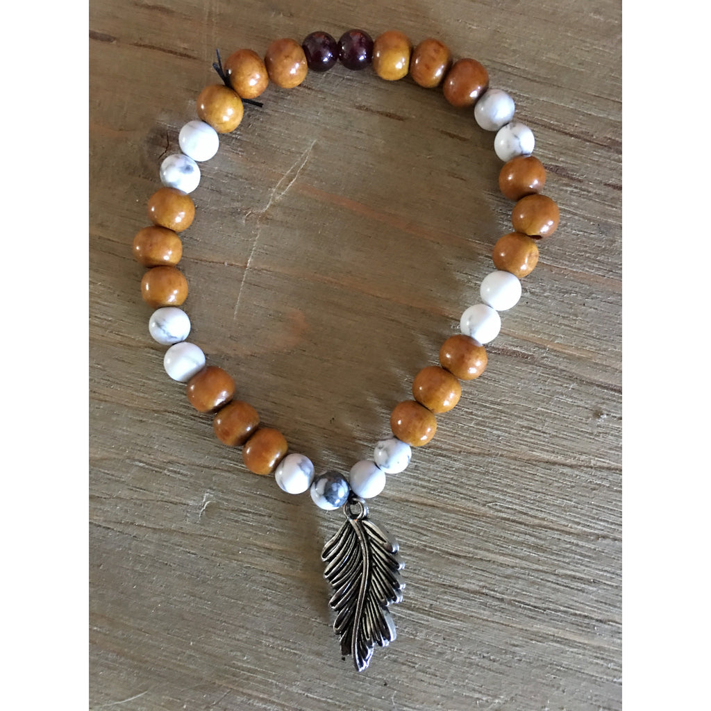 Howlite Feather wooden bracelet - Gifting a Gift of Peace