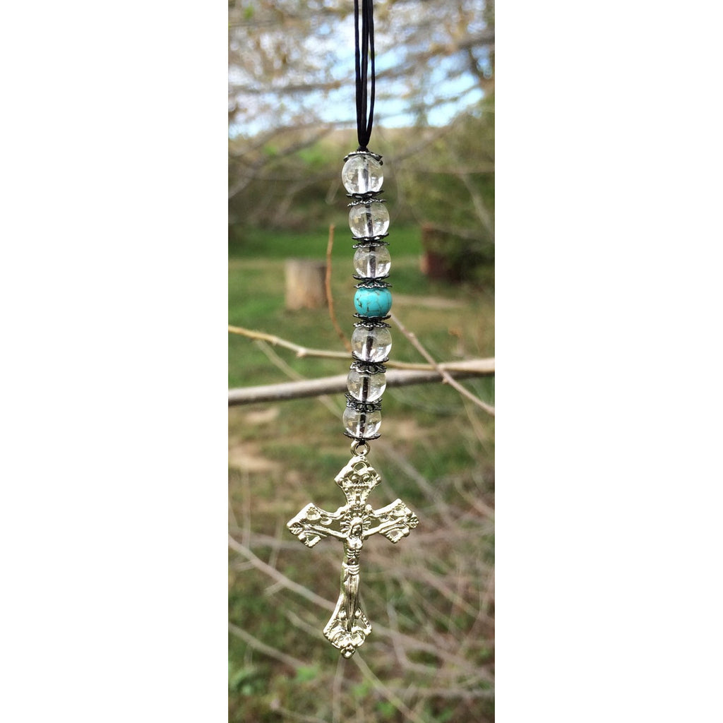 Clear Quartz and Howlite Crucifix Door Hanger - Gifting a Gift of Peace