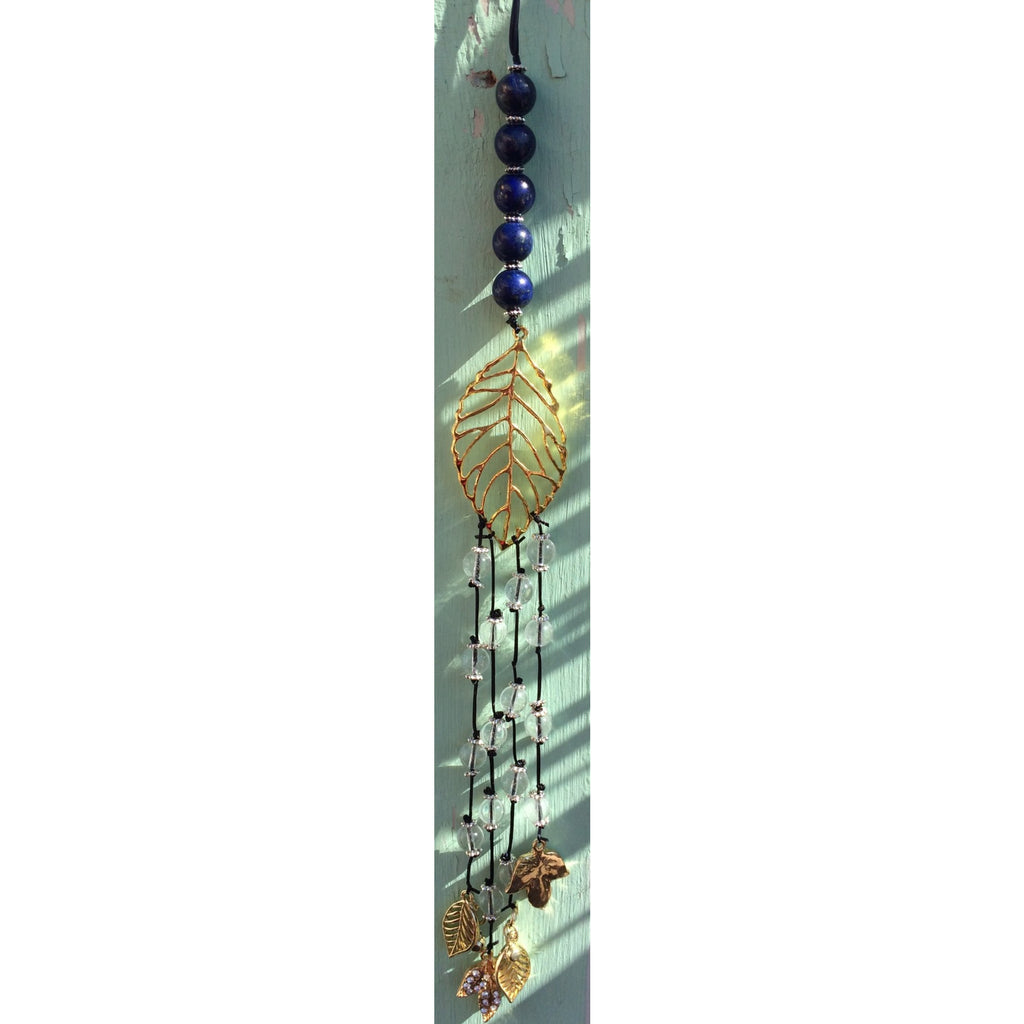 Lapis lazuli and clear quartz leaf door hanger - Gifting a Gift of Peace