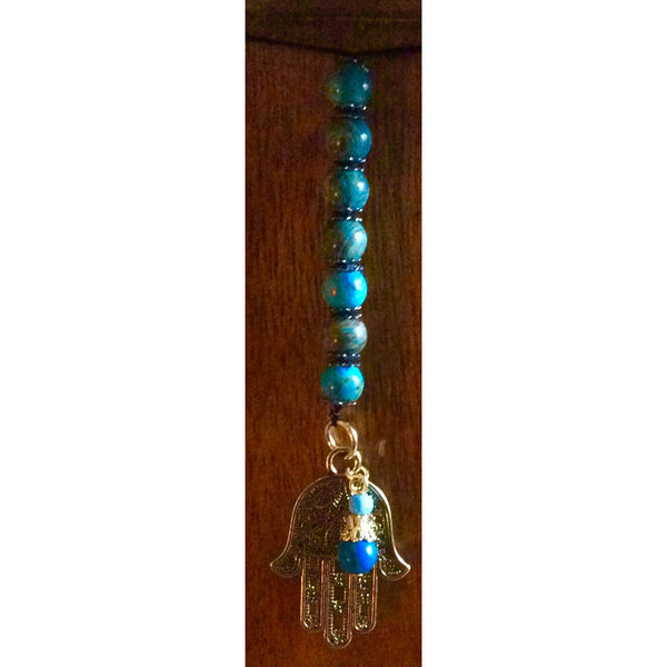 Blue Crazy Lace Agate Hamsa Door Hanger - Gifting a Gift of Peace
