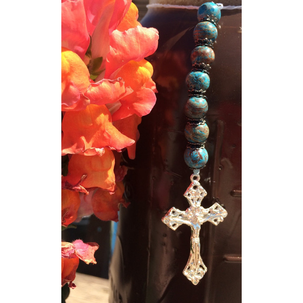 Blue Crazy Lace Agate Crucifix Car/Door Hanger - Gifting a Gift of Peace