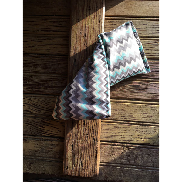 Extra Small Blue and Tan Chevron Rice Bag - Gifting a Gift of Peace