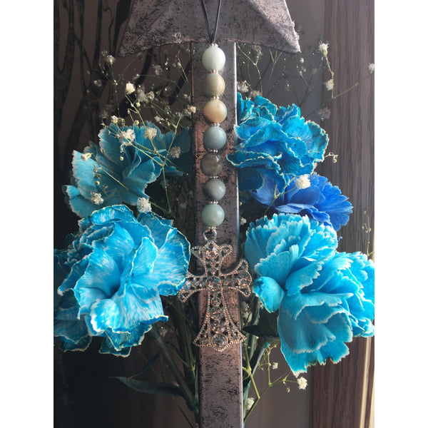 Amazonite Diamond Cross Door Hanger - Gifting a Gift of Peace
