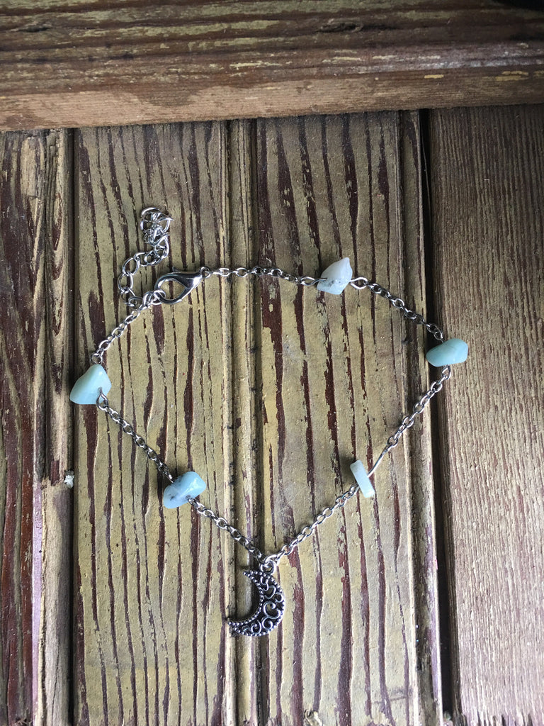 Amazonite Quarter Moon Anklet - Gifting a Gift of Peace