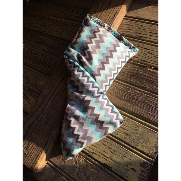 Extra Small Blue and Tan Chevron Rice Bag