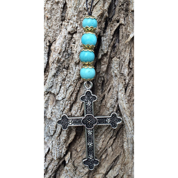 Blue Lace Agate Cross Door Hanger - Gifting a Gift of Peace