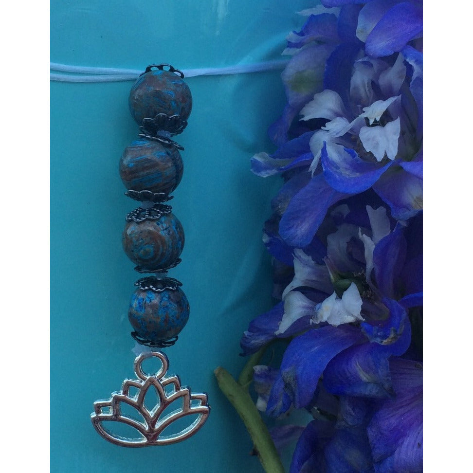 Blue Crazy Lace Agate Lotus Car/Door Hanger - Gifting a Gift of Peace