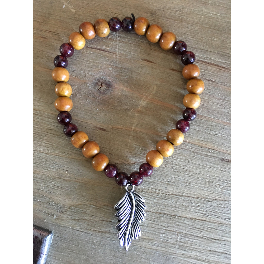 Red Garnet Wooden Feather Bracelet - Gifting a Gift of Peace