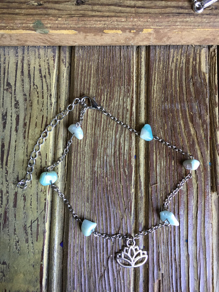 Amazonite Lotus Anklet