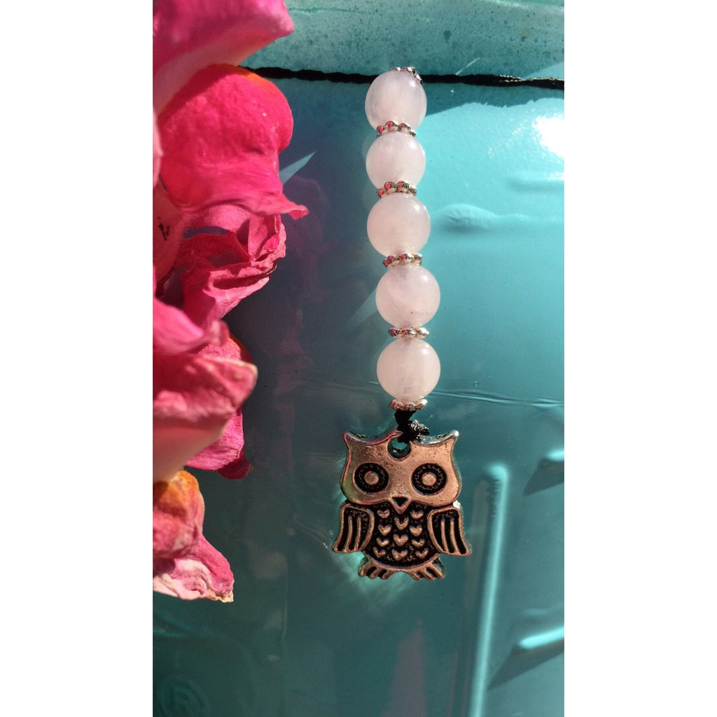 Rose Quartz owl car or door hanger - Gifting a Gift of Peace