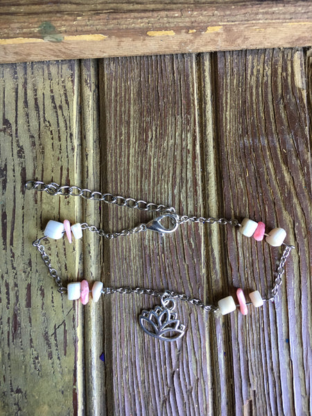 Coral And Mother Of Pearl Lotus Anklet