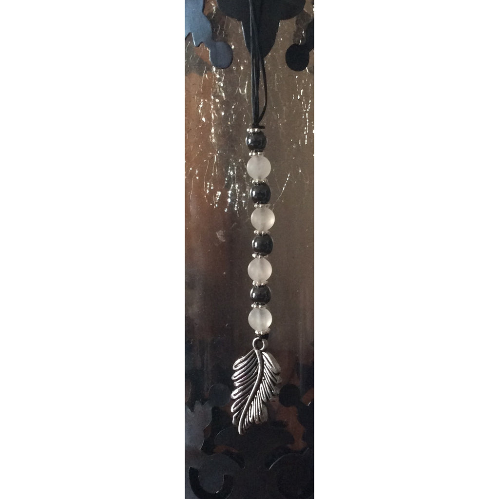 Rose Quartz and Hematite Feather Car/Door Hanger - Gifting a Gift of Peace